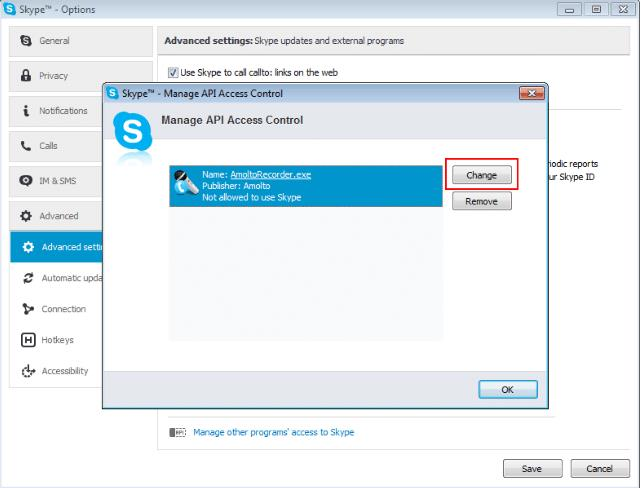 allow access skype