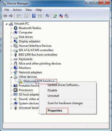 Install USB driver software for Android on PC