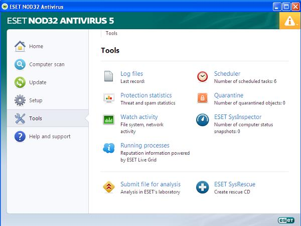 ESET NOD32 Antivirus 5 tools