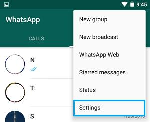 WhatsApp Settings Menu On Android Phone