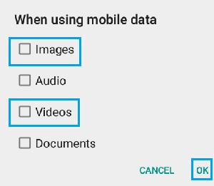 Disable WhatsApp Media Download While Using Mobile Data