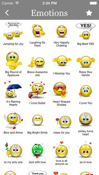 Animated 3D Emoticons for WhatsApp categorized emoticons