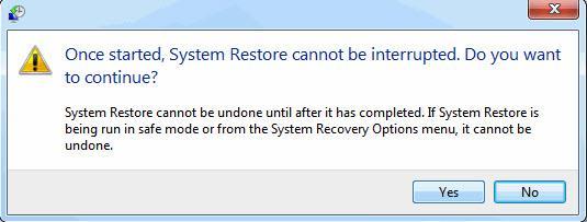 windows 7 restore finish confirm
