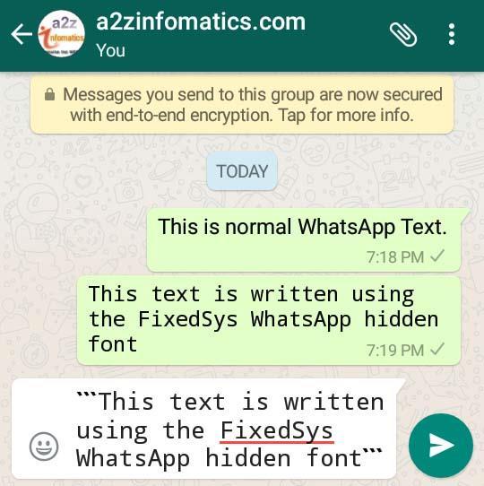 whatsapp hidden fixedsys font