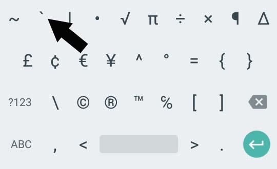 back left quote on google android keypad
