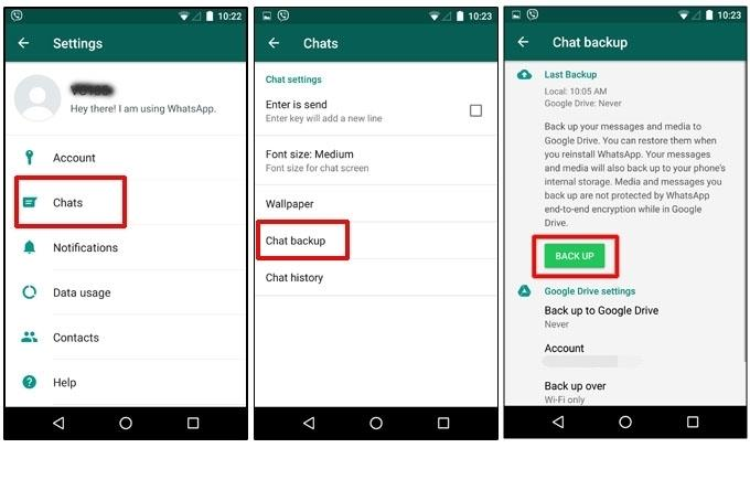 Backup Android WhatsApp Messages to Crypt file