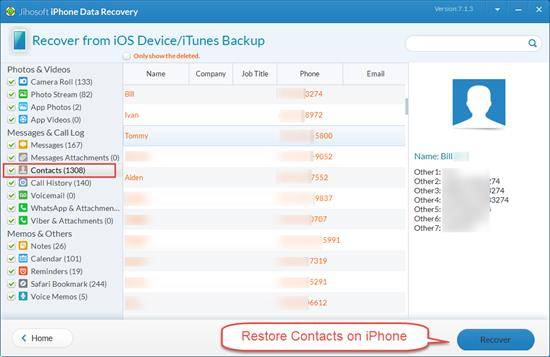 Restore Contacts on iPhone without Backup