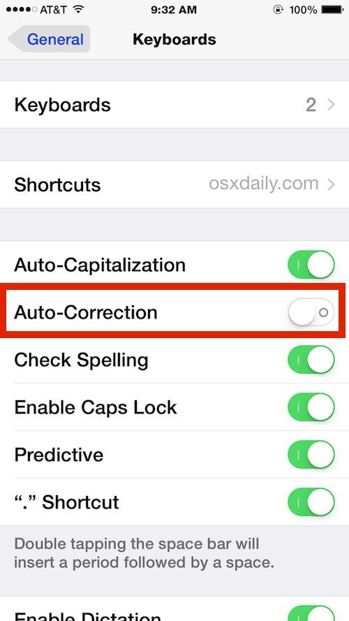 Disable Auto-Correction in iOS Settings as seen on the iPhone