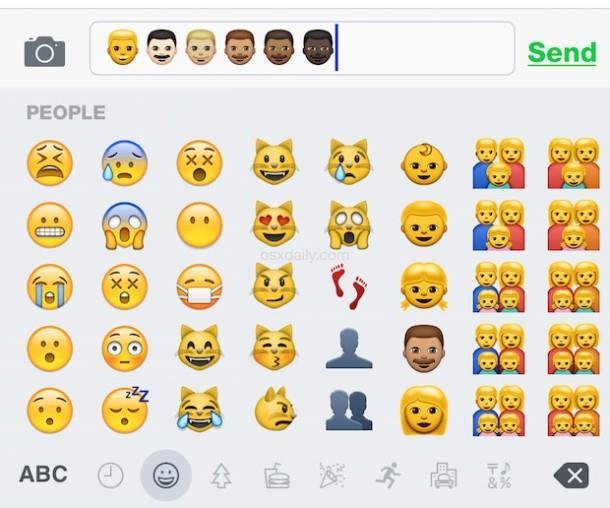 Typing Emoji skin tone variations