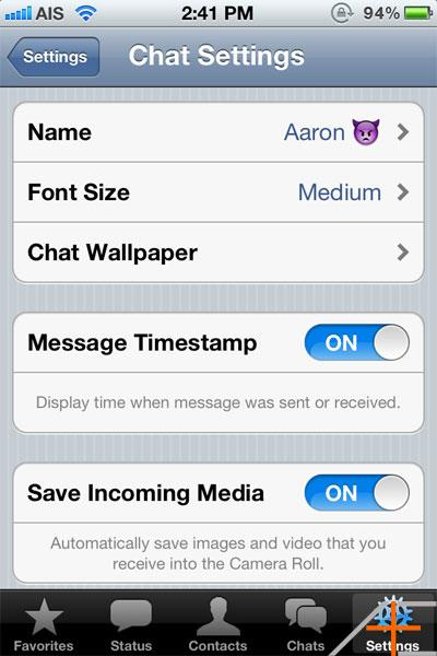 Whatsapp Chat Settings