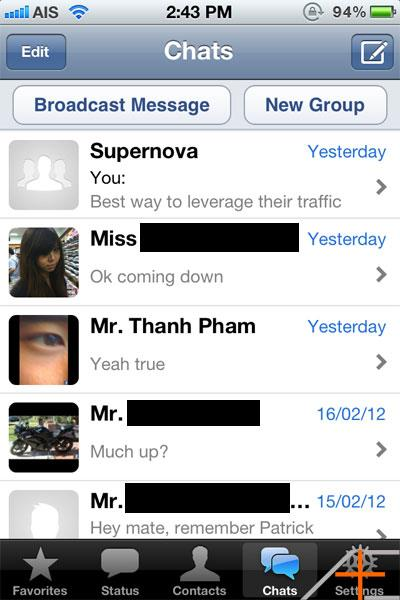 Whatsapp Chats Screen