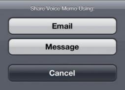 share voice memos from iPhone/iPod Contacts with email/message