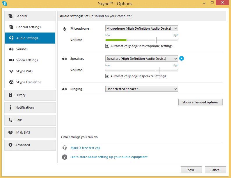 Skype audio settings