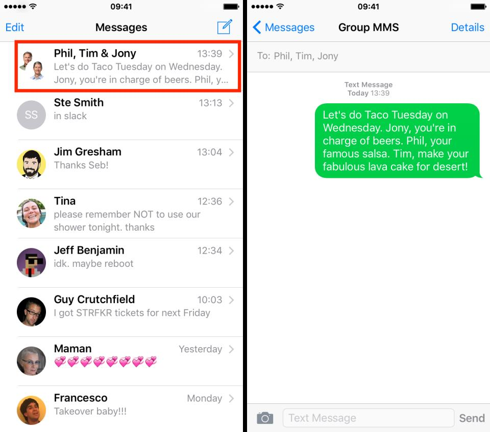 group sms conversion on iPhone