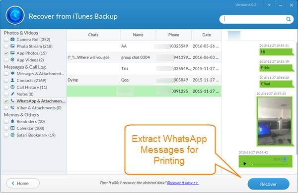 Print WhatsApp Messages on iPhone