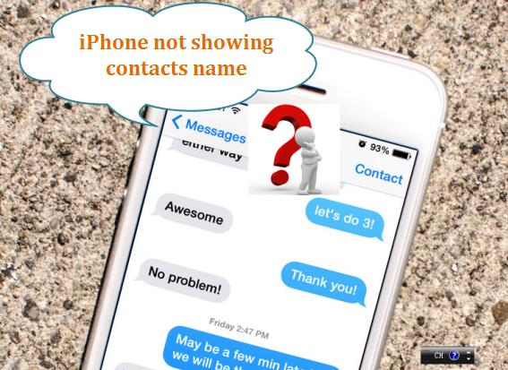 contact name not showing in iPhone