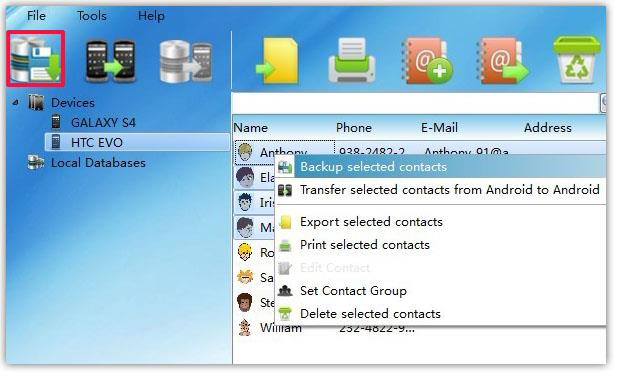 backup selected Android Contacts to PC
