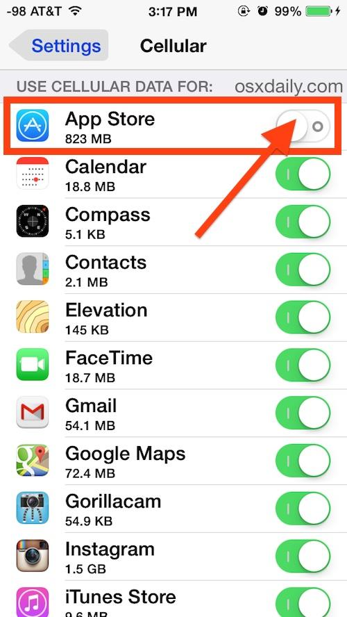 Disabling cellular data usage for a specific app in iOS