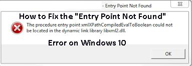 "Fix the ""Entry Point Not Found"" error"