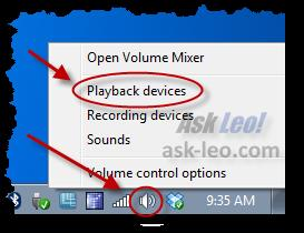 Right-clicking the sound icon in the notification area
