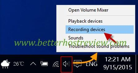 quickly access recording devices in windows 10