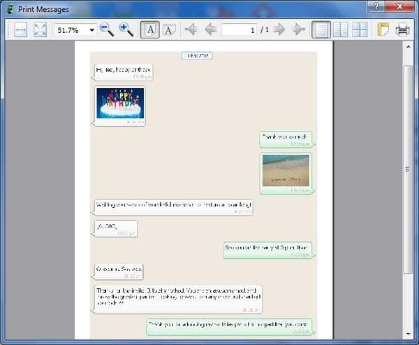 preview before Printing WhatsApp Messages from Android