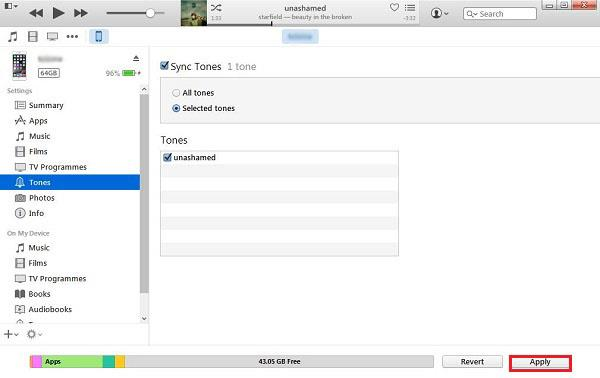 Sync iPhone with iTunes Ringtone