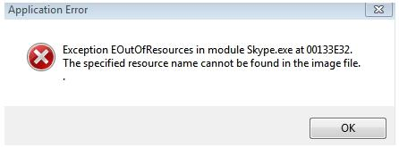 Exception EOutOfResources in module Skype.exe at 00133E32.