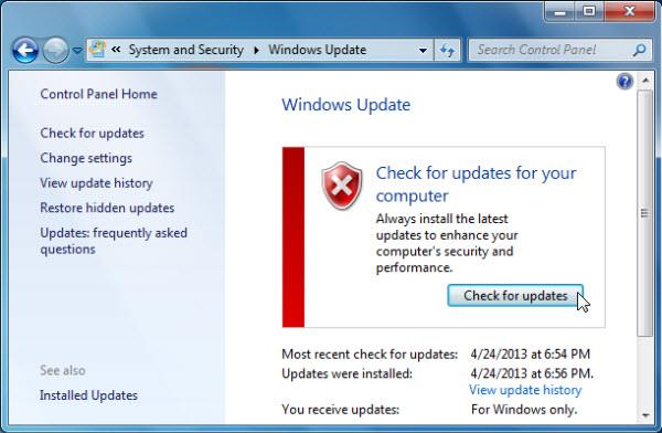 check for updates windows 7
