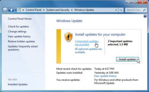 install updates windows 7
