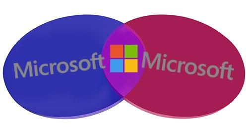 Microsoft - overlapping work and personal services