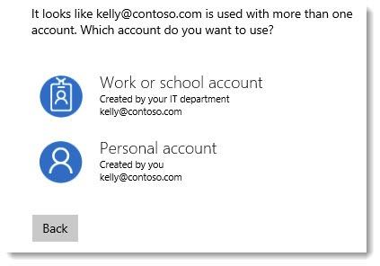 Microsoft login - work or school account vs personal account