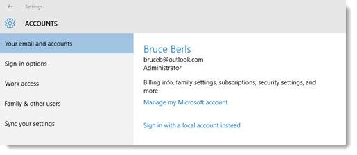 Windows 10 - log in with Microsoft account