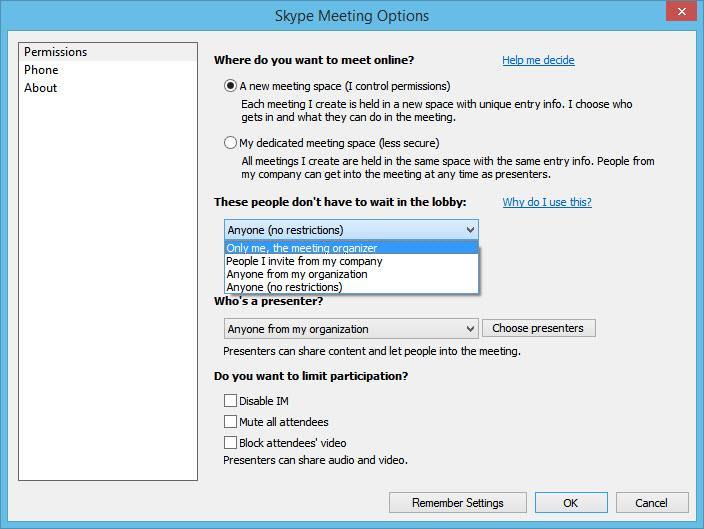 Skype Meeting Options - More Secure