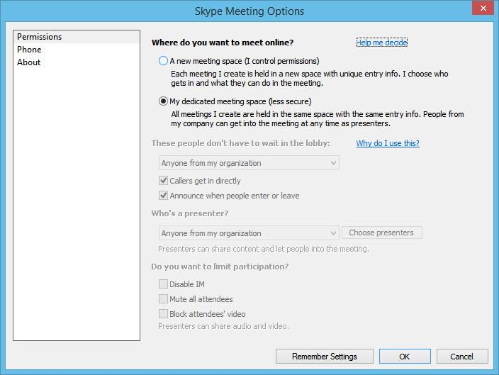 Skype Meeting Options - Less Secure