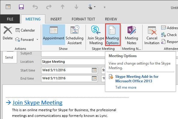 Skype Meeting Options Button