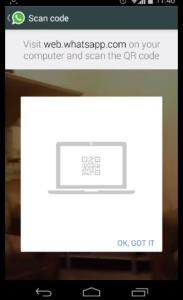 scanning the QR code for web whatsapp