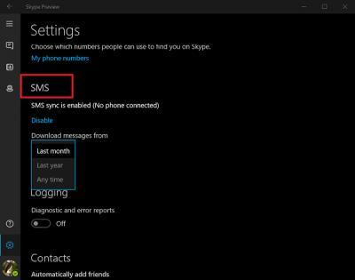 Enable SMS Sync between Windows 10 & Skype