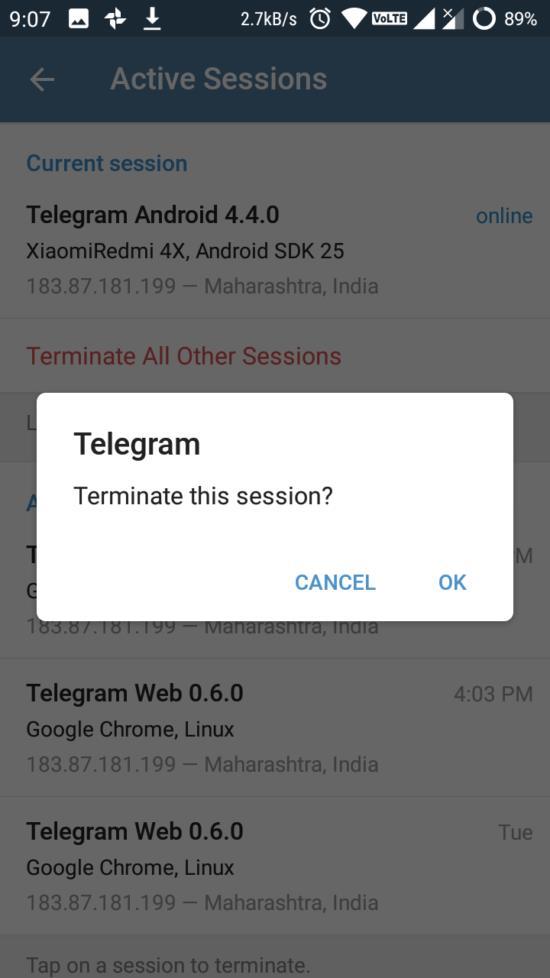 terminate telegram session