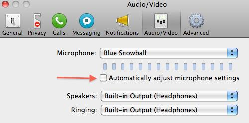 Mac Skype Settings to disable AGC
