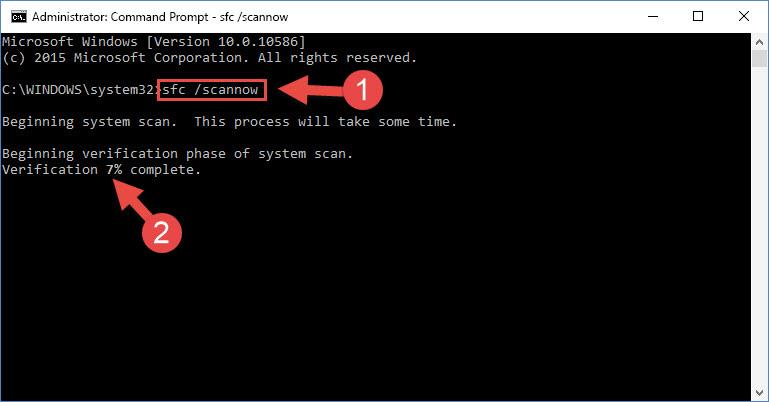fixing Windows system errors using the sfc /scannow command