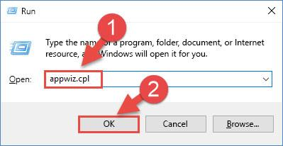 Opening the Programs and Features window using the appwiz.cpl command