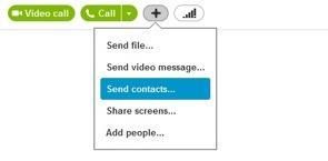 Sending Contacts in Skype