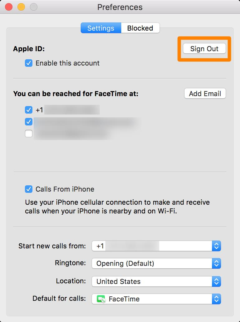 Sign Out of Facetime on Mac