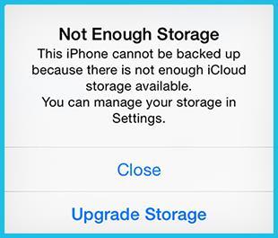 iCloud Not Enough Storage Message