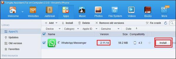 Install older version WhatsApp