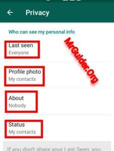 whatsapp status hide dp