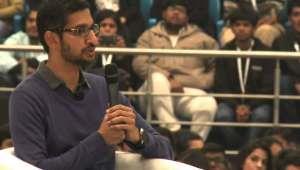 Google CEO Sundar Pichai interacts with students at Delhi's SRCC