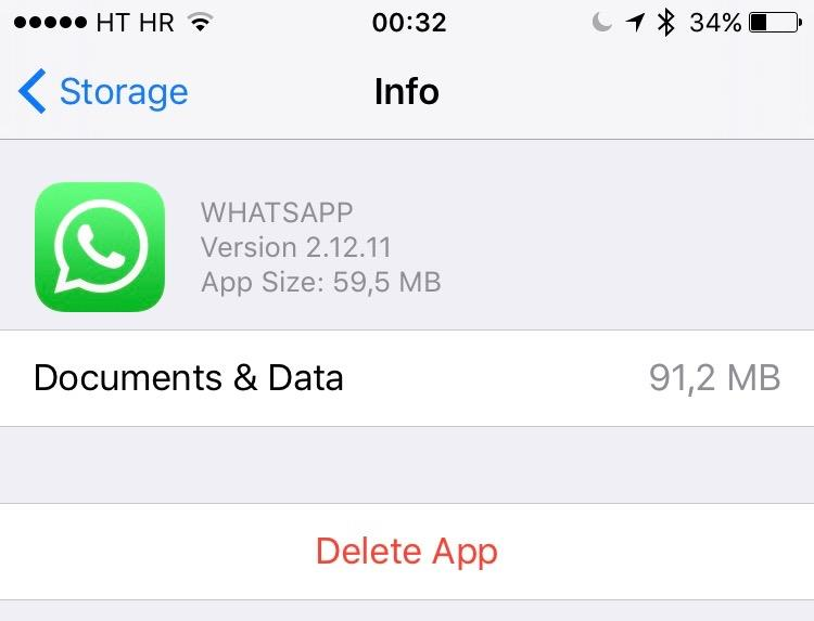 iOS 9 Manage Storage iPhone screenshot 004