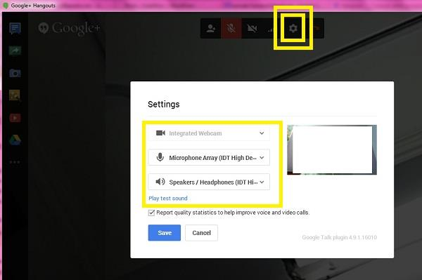 Google Hangouts Settings in Chrome